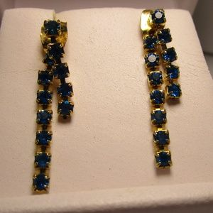 Vintage 80's Blue and Gold Party Earrings
